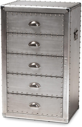 Design Studios Davet French Silver Metal 5-Drawer Accent Chest