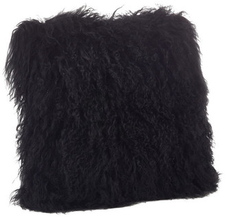 "Saro Lifestyle Mongolian Lamb Fur Poly Filled Throw Pillow, Black, 20""x20"""