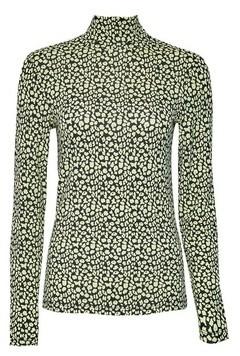 Dorothy Perkins Womens Lime Spot Print High Neck Top