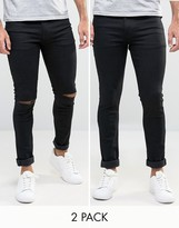 Asos Super Skinny Jeans 2 Pack In Black & Black With Knee Rips