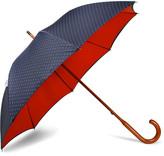 London Undercover Polka-dot Maple Wood-handle Umbrella - Midnight blue