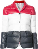 Thom Browne High Armhole Single Breasted Sport Coat With Downfill In Red, White And Blue Deerskin