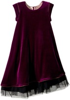 Junior Gaultier Velours Dress with Black Tulle Detail at Bottom Girl's Dress