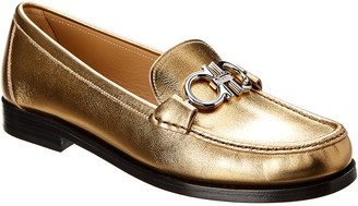 Salvatore Ferragamo Rolo Gancini Metallic Leather Moccasin