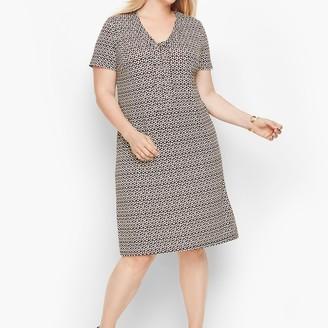 Talbots Knit Jersey Tie Neck Shift Dress - Floral