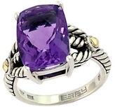 Effy Balissima 18 Kt. Yellow Gold and Sterling Silver Amethyst Ring