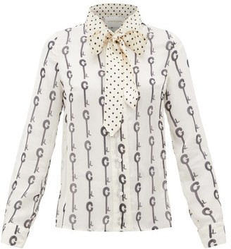 La Prestic Ouiston Montin Pussy-bow Good Luck-print Silk Blouse - White Black