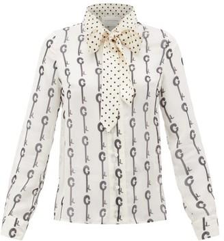 La Prestic Ouiston Montin Pussy-bow Good Luck-print Silk Blouse - Womens - White Black