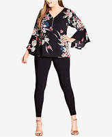 City Chic Trendy Plus Size Zip-Up Bell-Sleeve Top