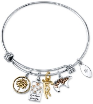 Unwritten Mom Charm Bangle Bracelet in Stainless Steel & Tri-Tone with Silver Plated Charms