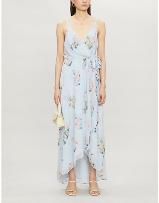 Ted Baker Floral-print wrap crepe midi dress