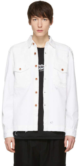 Diesel White Distressed D-Elov Denim Jacket