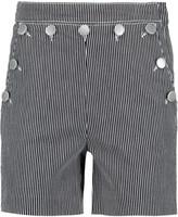 Maje Buttoned striped denim shorts