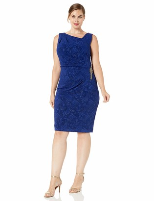 Alex Evenings Women's Plus Size Short Jacquard Knit Dress