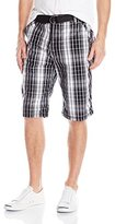 Southpole Men's Washed Plaid Shorts with Fine Plaids and Matching Belt