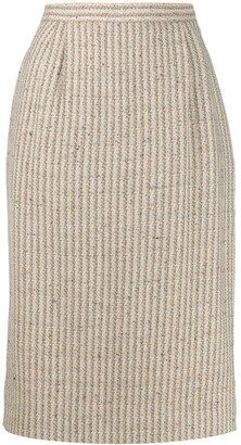 Valentino Pre Owned 1990s Striped Straight Woven Skirt