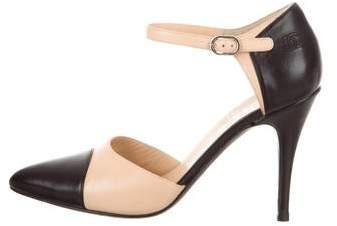 Chanel Cap-Toe Ankle-Strap Pumps