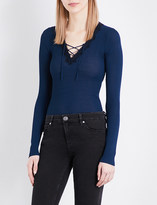 Sandro V-neck lace-up knitted jumper