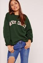 Missguided West Coast Graphic Sweatshirt Green