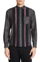 TOMORROWLAND Men's Tricot Stripe Sport Shirt