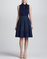 Oscar de la Renta Box Pleated A-Line Skirt, Marine