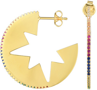 Sphera Milano 18K Yellow Gold Over Silver Cz Star Hoops
