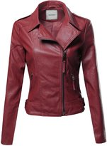 Awesome21 Classic Biker Jacket Various Colors Burgundy Size S