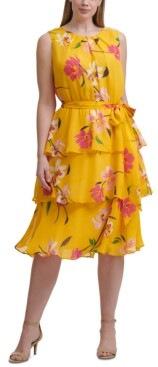 Jessica Howard Plus Size Floral Print Tiered Dress