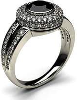 JewelsForum 2 Carat Black Diamond Engagement Ring Bezel Setting With White Diamond Side Stone Halo