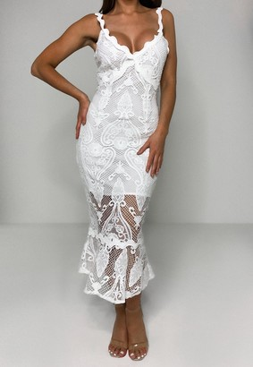 Missguided White Lace Cami Bodycon Midi Dress