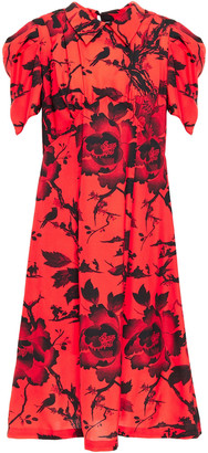 McQ Gathered Floral-print Washed Crepe De Chine Dress