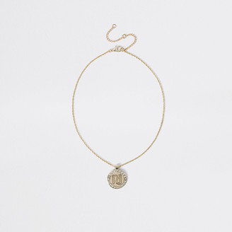 River Island Girls gold colour RI pendant necklace