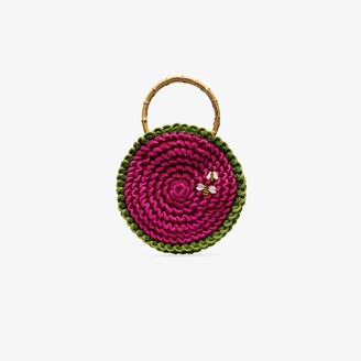My Beachy Side Pink Small knitted bee embroidered circle bag