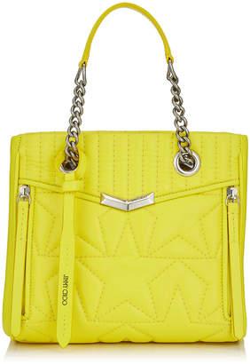 Jimmy Choo HELIA SHOPPER/S Small Fluroscent Yellow Star Matelasse Nappa Leather Shopper Bag