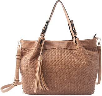 Violet Ray Woven Triple-Compartment Satchel - Ava