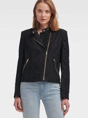 DKNY Women's Floral-lace Moto Jacket - Black - Size M