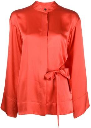 McQ Silk Wide Sleeve Kimono Blouse
