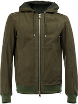 Balmain hooded jacket - men - Cotton/Calf Leather/Polyamide/Spandex/Elastane - L