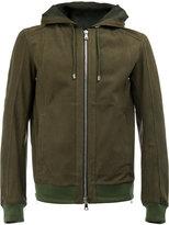 Balmain hooded jacket - men - Cotton/Calf Leather/Polyamide/Spandex/Elastane - L