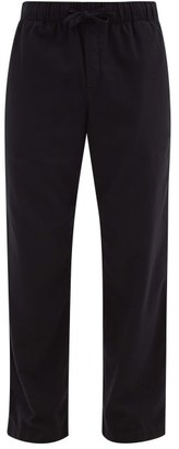 Tekla Drawstring Organic-cotton Flannel Pyjama Trousers - Black