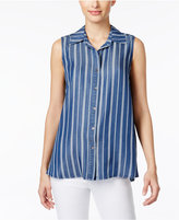Style&Co. Style & Co Petite Striped Denim Button-Back Shirt, Only at Macy's