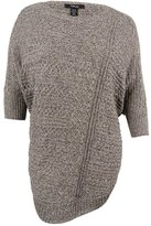 Style&Co. Style & Co. Womens Plus Cable Knit Heathered Cape Sweater Gray