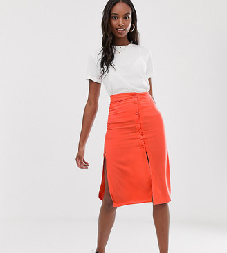Brave Soul Tall lyn midi skirt with button detail-Red