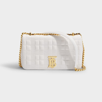 Burberry Lola Small Bag In White Quilted Lamb Leather