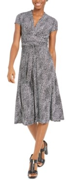 Michael Kors Michael Printed V-Neck Fit & Flare Dress