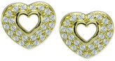 Giani Bernini Cubic Zirconia Pavé Open Heart Stud Earrings in 18k Gold-Plated Sterling Silver, Only at Macy's