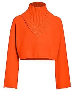 Victor Glemaud Women's Highneck Bell-Sleeve Knit Wool Sweater