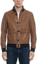 Forzieri Brown Leather Men's Bomber Jacket