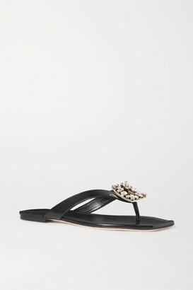 Roger Vivier Crystal-embellished Leather Flip Flops - Black
