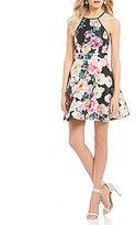Xtraordinary High-Neck Floral Print A-Line Dress